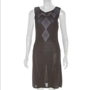 Celine VIntage Open Knit Silk Dress Black Medium